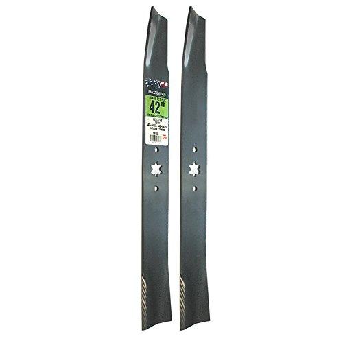 Maxpower 561556 (2) Blade Set For 42' Cut MTD, Cub Cadet, & Troy-Bilt Replaces OEM No. 742-04308, 742-04312, 942-04308, 942-04312, 119-8456