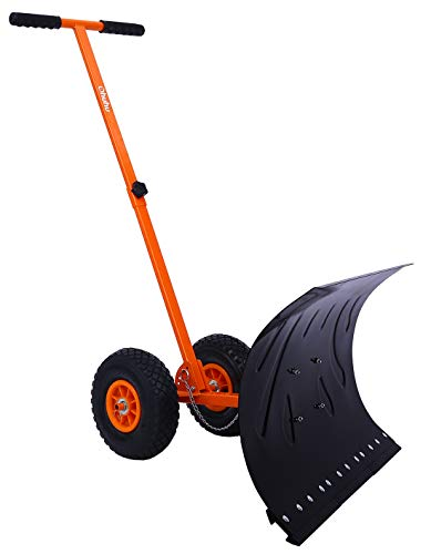 Snow Shovel with Wheels for Driveway Doorway,...