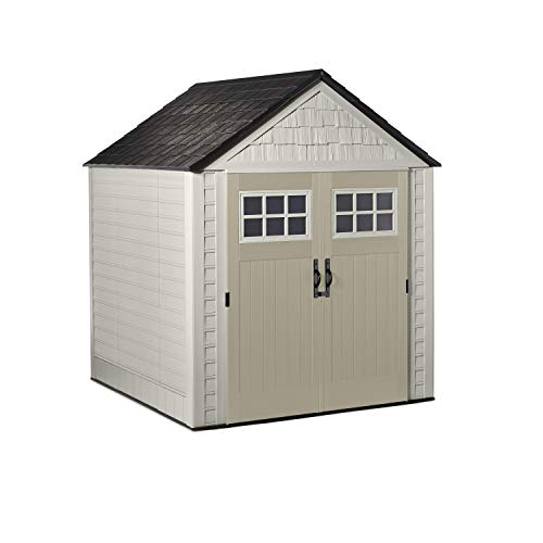 Rubbermaid 7x7 Ft Durable Weather Resistant Resin Outdoor Garden Storage Shed with Windows and Utility Hooks, Sand