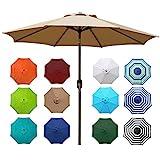 Blissun 9' Outdoor Market Patio Umbrella with Push...