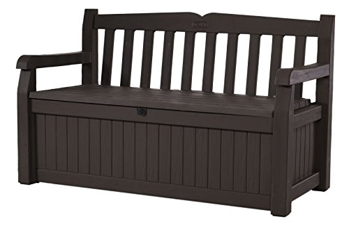 Keter Eden 70 Gallon Storage Bench Deck Box for Patio Furniture, Front Porch Decor and Outdoor Seating – Perfect to Store Garden Tools and Pool Toys,Brown / Brown