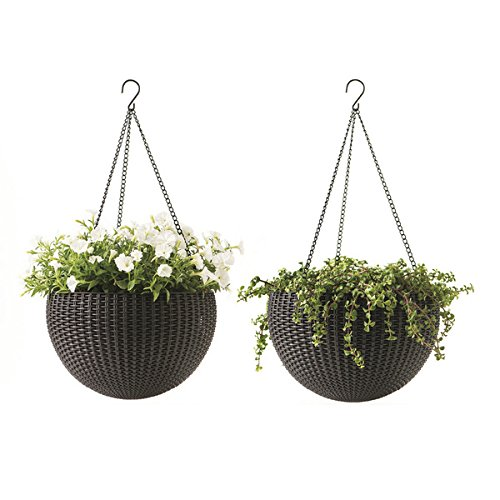 Keter Resin Rattan Set of 2 Round Hanging Planter Baskets for Indoor and Outdoor Plants-Perfect for Porches and Patio Decor, Brown