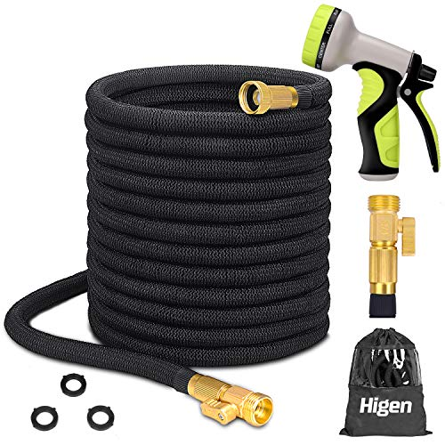 Higen 100ft Upgraded Garden Hose Set, Extra Strength Fabric Triple Layer Latex Core, 3/4' Solid Brass Fittings, 9 Function Spray Nozzle with Storage Bag, Premium No-Kink Flexible Water Hose