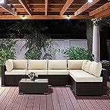 U-MAX 7 Pieces Patio PE Rattan Wicker Sofa Set...