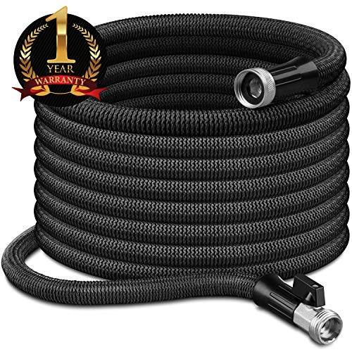 InGarden 100ft Expandable Garden Hose - Lightweight Kink Free Flexible Water Hose with Double Latex Core, 3/4' Solid Brass Rust-Proof Fittings, Extra Strength Fabric, with Storage Bag
