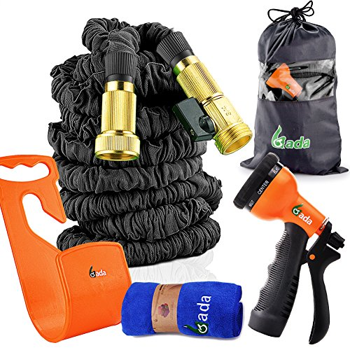 Gada Expandable Garden Hose 150 FT Black, 3/4' Solid Brass Connector Flexible Water Hose with Pocket Hose Spray Nozzle Magic Expanding Water Hose for Pet Showel and Watering