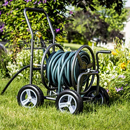 Backyard Expressions Commercial Hose Reel Cart -...